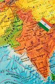 stock photo of indian flag  - Map with miniature Flag of India - JPG