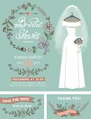 stock photo of bridal shower  - Bridal shower invitation set - JPG