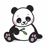 stock photo of panda  - Drawing baby panda with branch of bamboo - JPG