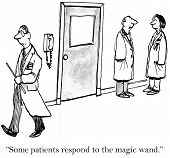 picture of magic-wand  - Cartoon of doctor carrying a magic wand and two doctors talking - JPG