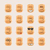 foto of angry smiley  - Vector icon set of smiley faces emotions mood and expression - JPG