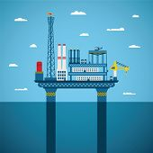 image of offshore  - Vector concept of oil and gas offshore industry with stationary platform - JPG