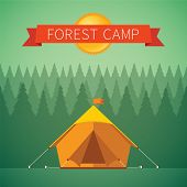stock photo of tent  - Forest camping vector concept with tourist tent - JPG