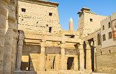 pic of obelisk  - The corridor of the Luxor Temple with the spire of the Obelisk on the background Egypt - JPG