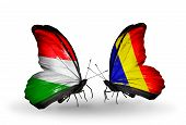 picture of chad  - Two butterflies with flags on wings as symbol of relations Hungary and Chad Romania - JPG