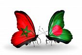 foto of bangladesh  - Two butterflies with flags on wings as symbol of relations Morocco and Bangladesh - JPG