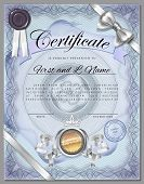 foto of certificate  - Vintage certificate template with detailed border and calligraphic elements on blue paper with safety watermarks in vector - JPG