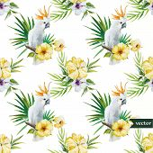 foto of parrots  - Beautiful vector watercolr pattern with white parrot  and hibiscus - JPG