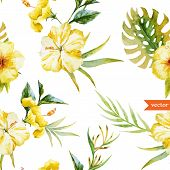 image of hibiscus  - Beautiful vector watercolr pattern with white parrot  and hibiscus - JPG