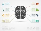 image of left brain  - infographic template with brain silhouette and icons af erts and science - JPG