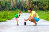 stock photo of chemical reaction  - father and son making chemical experiment funny education