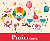 picture of traditional  - design for Jewish holiday  Purim with masks and traditional props - JPG