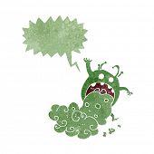 stock photo of gross  - cartoon gross monster being sick with speech bubble - JPG
