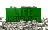 picture of bundle money  - The words Life Insurance rendered in 3D with money bundles on the ground - JPG
