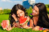 image of manicured lawn  - Two young happy girlfriends picnicking on the lawn on green grass and enjoying watermelon - JPG