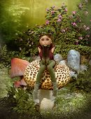 stock photo of fairy-mushroom  - 3d computer graphics of a fairy with a wreath on her head sitting on a mushroom - JPG