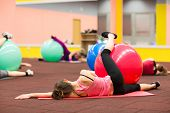 stock photo of pilates  - Group people in a pilates class at the gym  - JPG