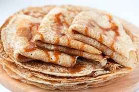stock photo of crepes  - Thin pancakes - JPG