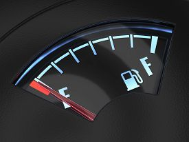 picture of fuel economy  - 3d render of gas gage with the needle indicating an empty tank - JPG