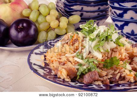 Traditional Uzbek Meal Called Pilaf And Onion