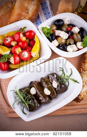 Vine Leaves Stuffed With Peppers And Mediterranean Antipasti