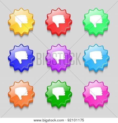 Dislike, Thumb Down, Hand Finger Down Icon Sign. Symbol On Nine Wavy Colourful Buttons. Vector