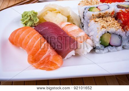 Delicious Sushi With Caviar Wasabi