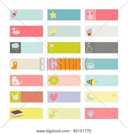 Set of notes and stickers with cute illustrations.