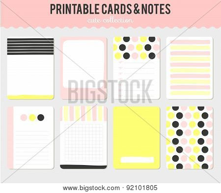 Set of cards, notes and stickers.
