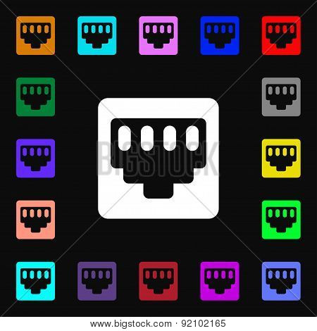 Cable Rj45, Patch Cord Icon Sign. Lots Of Colorful Symbols For Your Design. Vector
