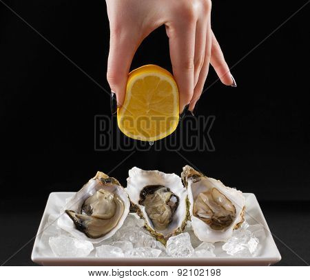 Girl Hand, Three Oyster Shell With Lemon Juice