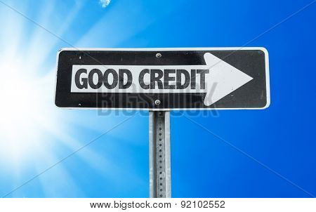 Good Credit direction sign with a beautiful day