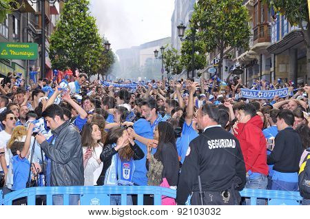 Celebration Of The Rise To Liga Adelante Of Spanish Football League Del Real Oviedo