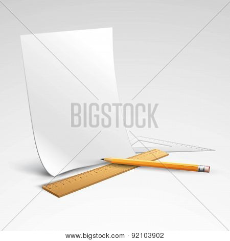 Pencil, ruler and a piece of paper. Vector illustration