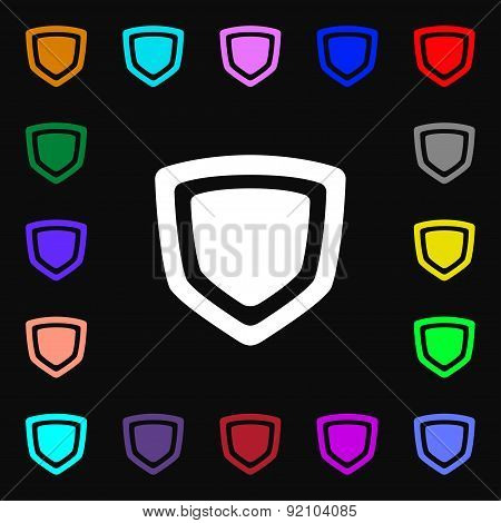 Shield Icon Sign. Lots Of Colorful Symbols For Your Design. Vector