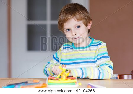 Happy Little Child, Adorable Creative Kid Boy Playing With Dough