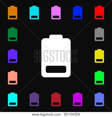Battery Low Level, Electricity Icon Sign. Lots Of Colorful Symbols For Your Design. Vector