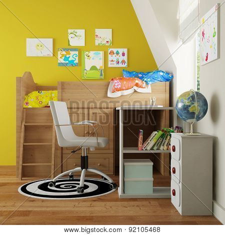 Nursery with loft bed on wall and a desk aside (3D Rendering)