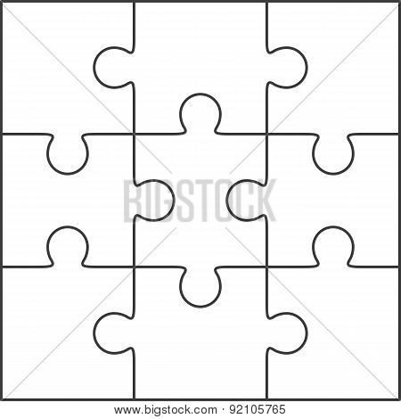 Jigsaw Puzzle Blank Template 3X3