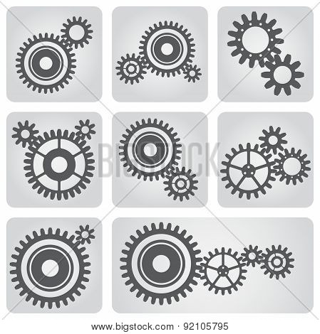 Icons Set Of Gear Wheels