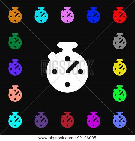 Timer, Stopwatch Icon Sign. Lots Of Colorful Symbols For Your Design. Vector