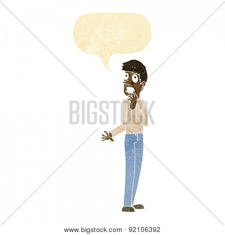 cartoon worried man with speech bubble