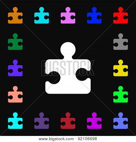 Puzzle Piece Icon Sign. Lots Of Colorful Symbols For Your Design. Vector