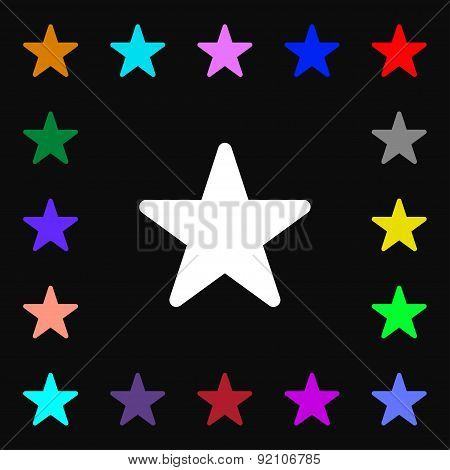 Favorite Star Icon Sign. Lots Of Colorful Symbols For Your Design. Vector