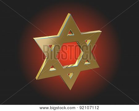 Image Star Of David Made Of Gold On A Dark Background