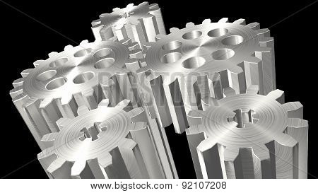 Composition Of Several Linked In Rotation Toothed Gears