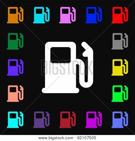 Petrol Or Gas Station, Car Fuel Icon Sign. Lots Of Colorful Symbols For Your Design. Vector