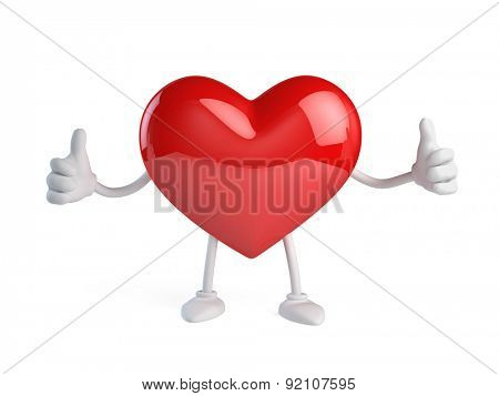 Heart character on white background