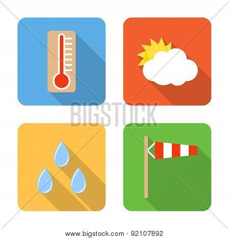 Flat Weather Icons With Long Shadows. Vector Illustration