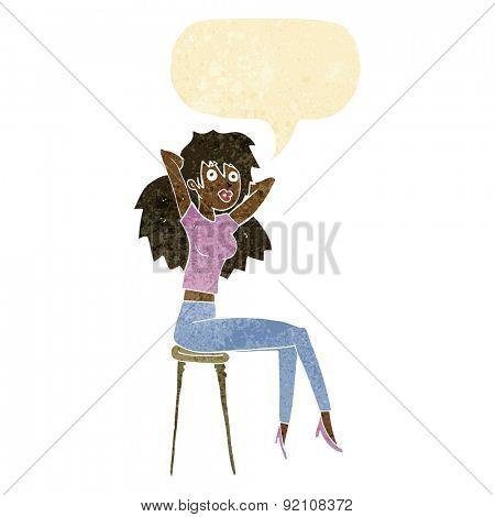 cartoon woman posing on stool with speech bubble